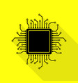 cpu microprocessor black icon with vector image vector image