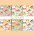 cute houses seamless pattern set cartoon old vector image vector image