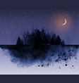 dark wild forest and night sky background with vector image vector image