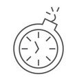 deadline thin line icon time and clock stopwatch vector image vector image