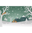 deer family with winter snow in the forest vector image