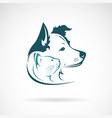 dog and cat head design on a white background pet vector image vector image