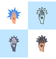 eczema hand icon set in flat and line style vector image
