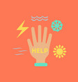 flat icon on stylish background hand disasters vector image vector image