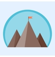 Flat mountain peak with flag vector image