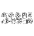 gift box with ribbon collection vintage set vector image vector image