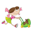 girl and toy carriage vector image vector image