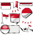 Glossy icons with Indonesian flag vector image vector image