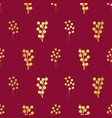 gold foil berries on red seamless vector image vector image