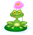 Green frog cartoon sitting on a leaf vector image