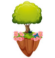 green tree and pink flowers vector image vector image