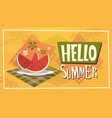hello summer time watermelon vacation sea travel vector image
