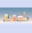 horizontal winter cityscape with town in snowfall vector image