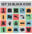 hotel and equipment black icons in set collection vector image