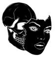 image skull black silhouette vector image vector image
