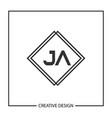 initial ja letter logo template design vector image vector image