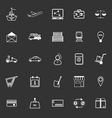 International business line icons on gray