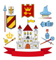 kingdom set - castle lance shield knights helmets vector image