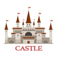 Medieval castle or fortress with red flags icon vector image
