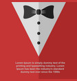 mens red suit with bow tie flat icon vector image