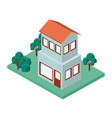 mini tree and building isometric vector image vector image