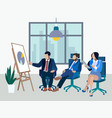 office meeting employees report on work done vector image vector image