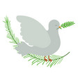 pigeon peace symbol side view with olive branch in vector image vector image