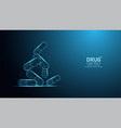 pill capsule abstract low poly polygon falling on vector image vector image