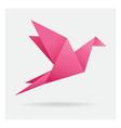 pink bird paper craft flying in frame art vector image vector image
