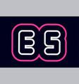 pink white blue alphabet combination letter es e vector image vector image