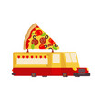 pizza car food truck fast food car vector image