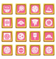 pizza icons pink vector image vector image