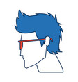 profile man avatar portrait with blue hair vector image vector image
