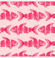 red sliced fish seamless pattern vector image vector image