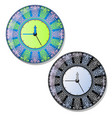 round dial wall clock with striking ornament of vector image
