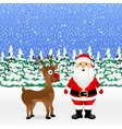 Santa Claus and Christmas reindeer are standing vector image vector image