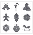 Set Monochrome Silhouettes Christmas Icons vector image vector image