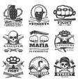 Street Wars Gangster Emblem Set vector image vector image