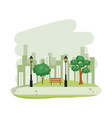 tree on park buildings skyline vector image vector image