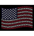waving american flag stylization of barbed wire vector image vector image