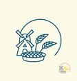 Windmill and grain Ears of rye and pie Logo for vector image