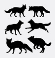 Wolf and fox silhouette vector image