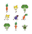set of fruits and vegetables doing sport -avocado vector image