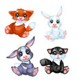 a set of cute little furry animated animals vector image vector image
