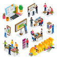 advertising agency isometric icons vector image vector image