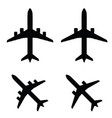 airplane in black color set vector image vector image