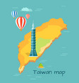 cartoon taiwan map with taipei tower vector image vector image