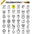 celebration concept modern line icon set vector image