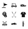 championship golf icons set simple style vector image vector image