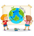 children drawing earth day vector image vector image